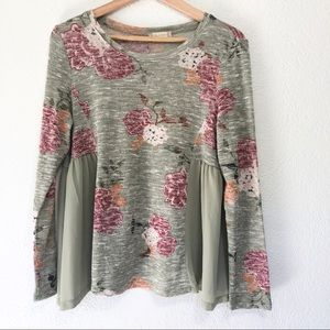 Altar'd State Floral Long Sleeve Baby Doll Top